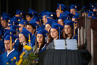 Seniors prepare to become Gilford High School graduates Saturday morning during the Class of 2012 Commencement Exercises at Meadowbrook Pavilion.   (Karen Bobotas/for the Laconia Daily Sun)