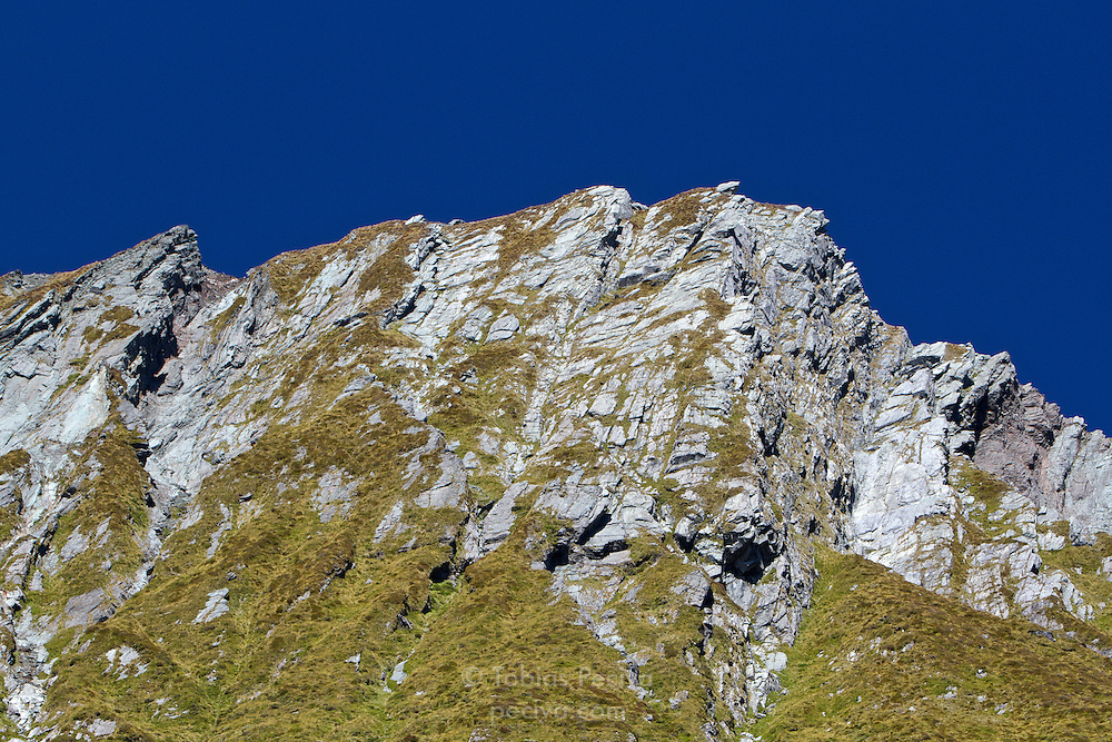 Detail of a peak in the Matukituki Valley, in Mount Aspiring National Park.