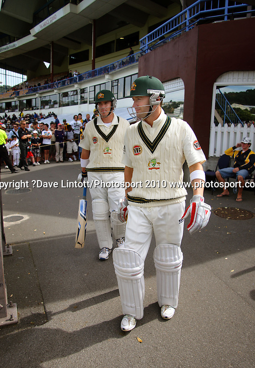 Australian batsmen Marcus North and Michael Clarke.<br /> 1st cricket test match - New Zealand Black Caps v Australia, day two at the Basin Reserve, Wellington.Saturday, 20 March 2010. Photo: Dave Lintott/PHOTOSPORT