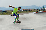 Kids skating at Thunder Park, built by funds from the band Pearl Jam, on the Blackfeet Reservation in Browning, Montana. (contact: (contact: Laurustin3sarno@yahoo.com / Laurustin Sarno)