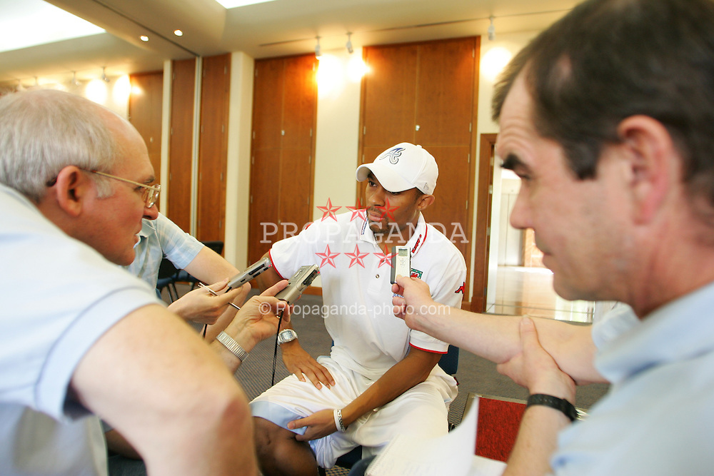 LIMASSOL, CYPRUS - TUESDAY, NOVEMBER 15th, 2005: Wales' Daniel Gabbidon, who will stand-in captain, at a press conference at the Le Meridien Limassol Spa Hotel ahead of his side's International Friendly match against Cyprus on Wednesday. (Pic by David Rawcliffe/Propaganda)