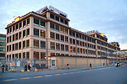 Turin, Piedmont/Italy-10/29/2015-The facade of the Lingotto building, historic business district of Fiat industry in Turin.