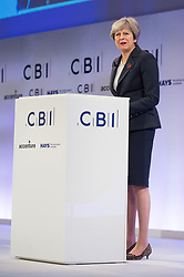 © Licensed to London News Pictures. 06/11/2017. London, UK. British prime minister THERESA MAYleaves the stage after making a keynote speech at the Confederation of British Industry (CBI) conference, held at Intercontinental Hotel. Photo credit: Ray Tang/LNP