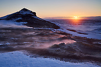 Sunrise at Námafjall Geothermal Area, Mývatn, North Iceland.