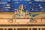 The Statue of Mercury atop the entrance to Grand Central Terminal at 42nd Street and Park Avenue, New York City.