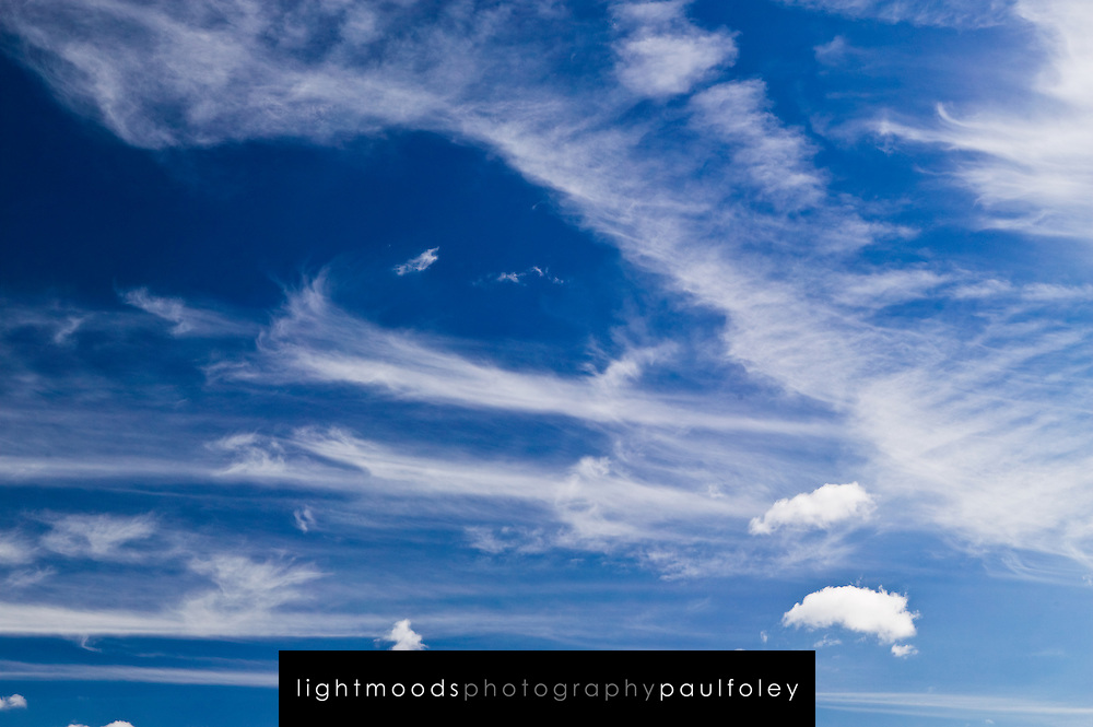 High, windswept clouds on a bright blue Australian sky