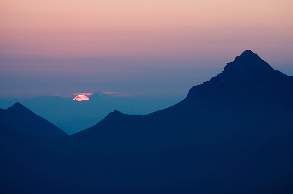 view on the Landscape in the area around the Pfälzer Hütte; sunrise; Liechtenstein