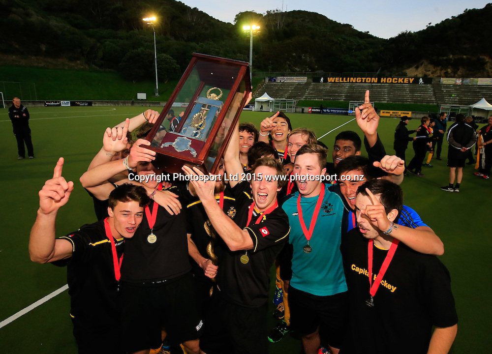 Capital celebrate their victory over Auckland. Mens National U21 Hockey Final, Auckland v Capital, National Hockey Stadium, Wellington, New Zealand. Saturday, 09 May, 2015. Copyright photo: John Cowpland / www.photosport.co.nz