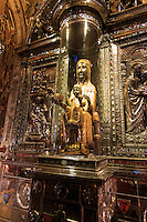The Our Lady of Montserrat statue in the Benedictine monastery of the same name on the outskirts of Barcelona, Spain