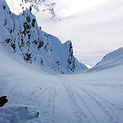 About to drop into the 60 degree Oz couloir, Chugach Range, Alaska