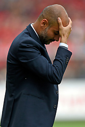 Football: Germany, 1. Bundesliga, SC Freiburg - FC Bayern Muenchen, Freiburg - 16.05.2015,<br /> Trainer Pep Guardiola (Bayern Muenchen) dejected.<br /> <br /> &copy; pixathlon<br /> <br /> +++ NED out !!! +++