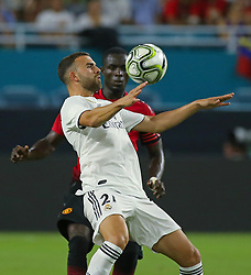Real Madrid forward Borja Mayoral (21) challenges for the ball with Manchester United defender Eric Bailly during the second half during International Champions Cup action at Hard Rock Stadium in Miami Gardens, FL, USA on Tuesday, July 31, 2018. Manchester United won, 2-1. Photo by David Santiago/Miami Herald/TNS/ABACAPRESS.COM