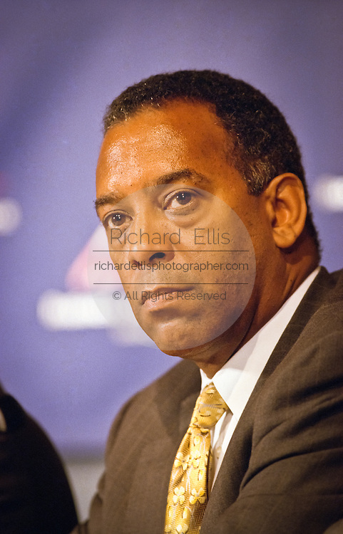 John W. Thompson, President and CEO of Symantec Corpration attends a press conference by the Business Software Alliance June 16, 1999 in Washington, DC.