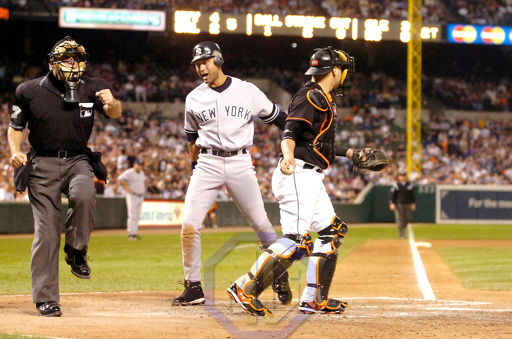 28 September 2007:  Umpire Larry Vanover calls New York Yankees shortstop Derek Jeter (2) out during the game between the New York Yankees and the Baltimore Orioles.  The Orioles defeated the Yankees 10-9 in ten innings at Camden Yards in Baltimore, MD.  ****For Editorial Use Only****