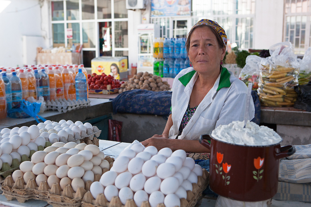 A local woman selling eggs in a Dashoguz market, Turkmenistan