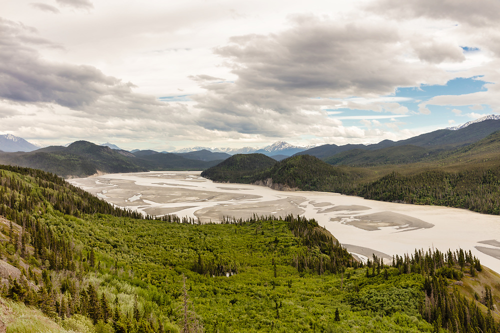 Copper River Valley in Wrangell-St. Elias National Park in Southcentral Alaska. Spring. Afternoon.