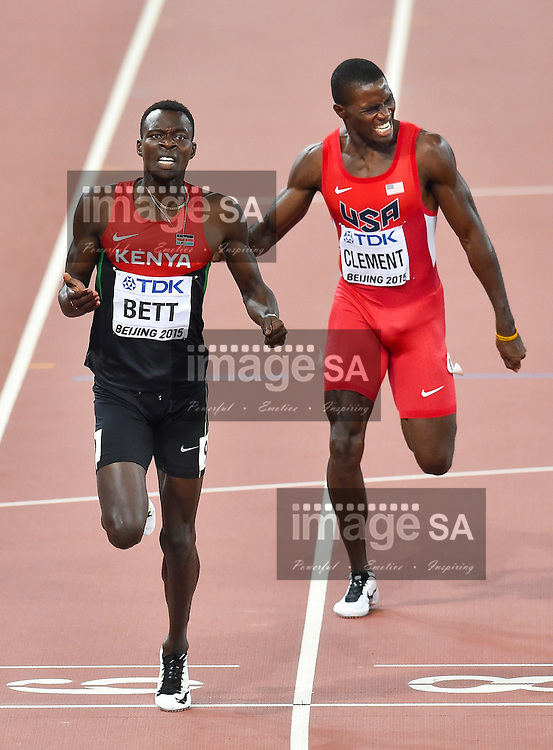 BEIJING, CHINA - AUGUST 25: Nicholas Bett of Kenya (left) outsprints Kerron Clement (USA) in the mens 400m hurdles final during day 4 of the 2015 IAAF World Championships at National Stadium on August 25, 2015 in Beijing, China. (Photo by Roger Sedres/Gallo Images)