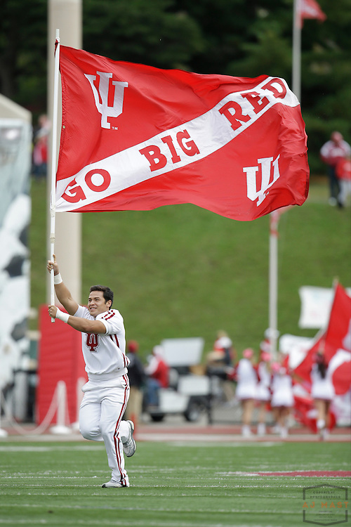 04 October 2014: Indiana Cheerleaders  as the Indiana Hoosiers played North Texas in a NCAA college football game in Bloomington, IN.