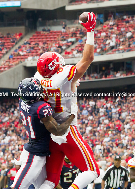 18 September, 2016:  Houston Texans cornerback A.J. Bouye (21) tackles Kansas City Chiefs tight end Travis Kelce (87) during the NFL game between the Kansas City Chiefs and Houston Texans at NRG Stadium in Houston, Texas.  (Photograph by Leslie Plaza Johnson/Icon Sportswire)