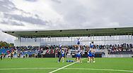 Cheerleaderne fra FCH Diamonds underholder ved indvielsen af Helsingør Kommunes nye stadion på Gl. Hellebækvej i Helsingør den 8. august 2019 (Foto: Claus Birch)