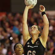Cathrine Latu, New Zealand, in action during the New Zealand V England, New World International Netball Series, at the ILT Velodrome, Invercargill, New Zealand. 6th October 2011. Photo Tim Clayton...