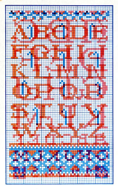 cross stitch alphabet lettering design pattern