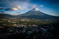 Aerial drone image of Volcán de Agua, seen from above Antigua Guatemala, on Tuesday, August 21, 2018.