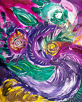 purple tones mottled abstract art image with swirls and rounded circular shapes in green,white fuchsia,purple and yellow colors