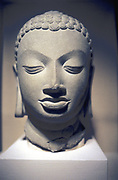 Stone head of Buddha, Gupta, 5th centry AD. Sarnath, Uttar Pradesh, India. Photograph.