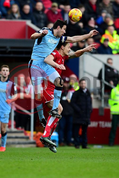 Milan Djuric of Bristol City battles for the high ball with Richard Wood of Rotherham United  - Mandatory by-line: Joe Meredith/JMP - 04/02/2017 - FOOTBALL - Ashton Gate - Bristol, England - Bristol City v Rotherham United - Sky Bet Championship