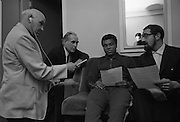 Muhammad Ali In Ireland..1972..14.07.1972..07.14.1972..14th July 1972..A short film on Muhammad Ali in Ireland has been made for showing in the USA before his bout with Al 'Blue'Lewis.The film sponsored by Bord Failte is produced and directed by Mr Louis Marcus.Commentary is provided by Muhammad Ali himself.The project was discussed at Oppermans Country Club Hotel,Kilternan,Co Dublin,where the Ali camp was based...Photograph of Mr Peter Hunt,Sound Recordist,Mr Tom Sheehy,Bord Failte,Muhammad Ali and Louis Marcus,Film Director making the preparations for the forthcoming film.