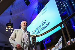 "© Licensed to London News Pictures. 22/06/2019. London, UK. Labour Party leader Jeremy Corbyn at the ""Together for Education"" rally in The Methodist Central Hall, Westminster attended by teachers, governors, parents, councillors and trade unionists about campaigning against real-terms education funding cuts. Photo credit: Dinendra Haria/LNP"