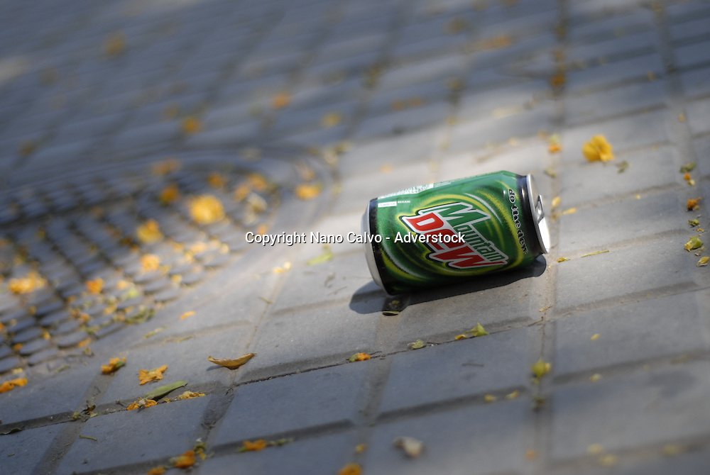 Travel Images of Barcelona Soda can on the streets of Barcelona