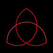 Triquetra, trinity knot illustration. The triquetra is often found in english and irish art, in illuminated manuscripts and as a symbol of trinity in the Christian tradition. From a mathematical point of view the triquetra is a trefoil knot. Red on Black
