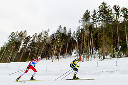 February 22, 2019 - Seefeld In Tirol, AUSTRIA - 190222 Espen BjÂ¿rnstad of Norway and Johannes Rydzek of Germany compete in men's nordic combined 10 km Individual Gundersen during the FIS Nordic World Ski Championships on February 22, 2019 in Seefeld in Tirol..Photo: Vegard Wivestad GrÂ¿tt / BILDBYRN / kod VG / 170288 (Credit Image: © Vegard Wivestad Gr¯Tt/Bildbyran via ZUMA Press)