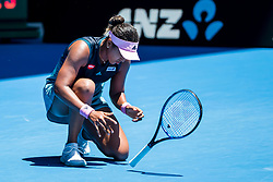 January 21, 2019 - Melbourne, VIC, U.S. - MELBOURNE, AUSTRALIA - JANUARY 21 : Naomi Osaka of ÊJapan shows her frustration by throwing her racquet during day 8 of the Australian Open on January 21 2019, at Melbourne Park in Melbourne, Australia.(Photo by Jason Heidrich/Icon Sportswire)MELBOURNE, AUSTRALIA - JANUARY 21  (Credit Image: © Jason Heidrich/Icon SMI via ZUMA Press)