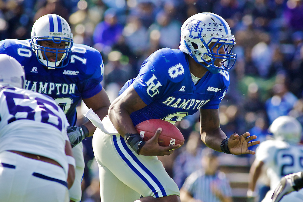 Oct 30, 2010; Hampton VA, USA; Hampton Pirates quaterback David Legree (8) runs with the ball against the Old Dominion Monarchs at Armstrong Stadium. The Pirates lost 14-28. Mandatory Credit: Peter J. Casey