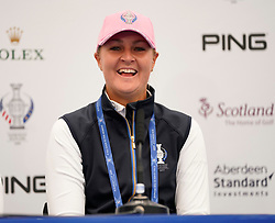 Auchterarder, Scotland, UK. 12 September 2019. Press conference with Team Europe players for the 2019 Solheim Cup. Pictured; Anna Nordqvist. Iain Masterton/Alamy Live News