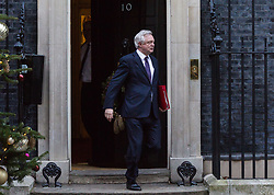 London, December 18 2017. Secretary of State for Exiting the European Union David Davis leaves 10 Downing Street following a meeting of Prime Minister Theresa May's 'Brexit Cabinet'. © Paul Davey