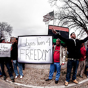Libyan and Arab American community in Kansas CIty and the region protest against Muammar Ghaddafi on February 19, 2011.