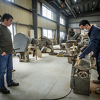 Chichibu Distillery founder Ichiro Akuto oversees the coopering process at Chichibu Distillery in Chichibu, Saitama Prefecture, Japan, November 4, 2015. Gary He/DRAMBOX MEDIA LIBRARY