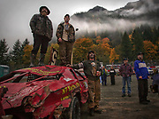 Participants and competitors watch a race during Stock Car racing in Agassiz, B.C. (2012)