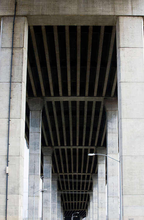 The underside of the West Seattle Highway Bridge, Seattle, WA, USA.