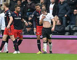 Derby County's Stephen Warnock reacts to being sent off. - Photo mandatory by-line: Alex James/JMP - Mobile: 07966 386802 - 14/02/2015 - SPORT - Football - Derby  - ipro stadium - Derby County v Reading - FA Cup - Fifth Round