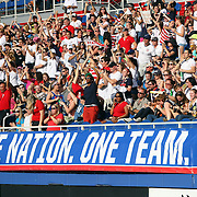 Fans react to a goal during an international friendly soccer match between the United States Women's National soccer team and the Russia National soccer team at FAU Stadium on Saturday, February 8, in Boca Raton, Florida. (AP Photo/Alex Menendez)