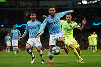 Manchester City's Bernardo Silva under pressure from Petar Stojanovic of Dinamo Zagreb<br /> <br /> Football - 2019 / 2020 UEFA Champions League - Champs Lge Grp C: Man City-D Zagreb<br /> <br /> , at Etihad Stadium<br /> <br /> Colorsport / Terry Donnelly