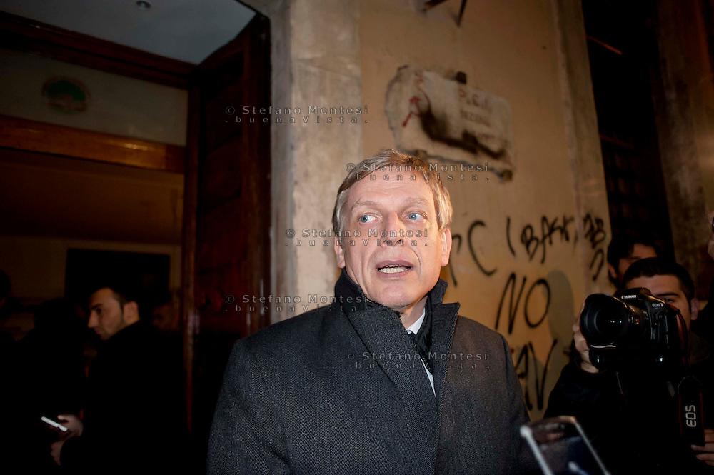 Roma 20 Novembre 2013<br /> No Tav proteste a Roma durante il summit Letta-Hollande.  GGianni Cuperlo (PD)  davanti alla sezione del PD (Partito Democratico) in via Giubbonari, deturpata e vandalizzata<br /> Rome  20 Novembre 2013<br /> No TAV protests in Rome during the summit Letta-Hollande, in Rome. Gianni Cuperlo (PD) in front of the section of the PD (Democratic Party), via Giubbonari, defaced and vandalized