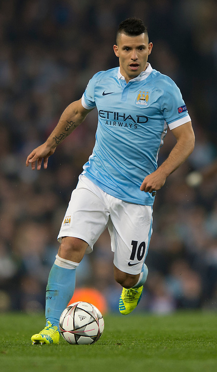 Sergio Aguero of Manchester City during the UEFA Champions League match at the Etihad Stadium, Manchester<br /> Picture by Russell Hart/Focus Images Ltd 07791 688 420<br /> 12/04/2016