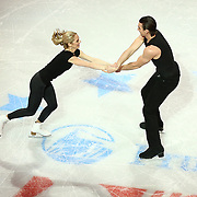Alexa Scimeca and Christopher Knierim seen during the Smucker's Skating Spectacular at the TD Garden on January 12, 2014 in Boston, Massachusetts.