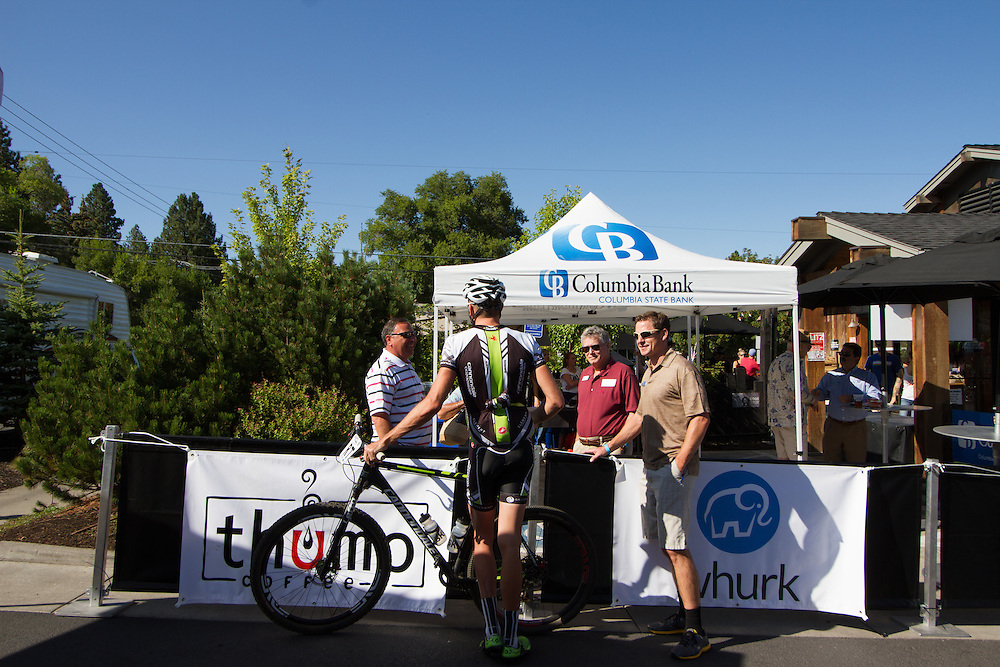 Ryan Trebon (Cannondale) chats with sponsors before the race.  © Brian Nelson